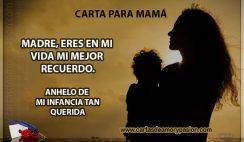 Madre, eres en mi vida mi mejor recuerdo, anhelo de mi infancia tan querida.